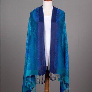 Paisley Print Pashmina w/ Tassels- Royal Blue